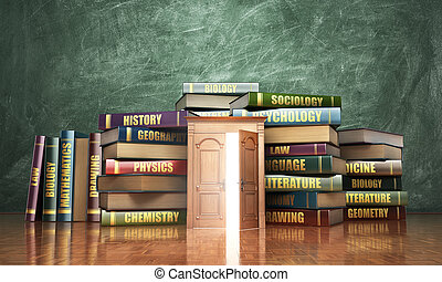 study., ドア, 開いた, 木製である, concept., イラスト, 山, 教育, books., 3d