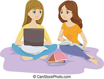 Study Buddies - Illustration of Two Females Studying in Bed...