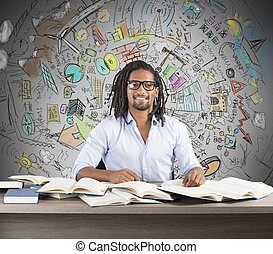 Study business innovative ideas - Man studies books to find...