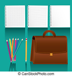 study elements icons with shadow on turquoise background