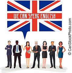 study english language - group of business people standing ...