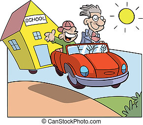 Study holidays - student and teacher on a car towing a...