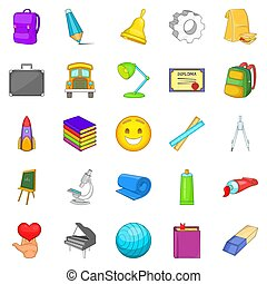 Study icons set, cartoon style