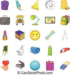 Study icons set, cartoon style