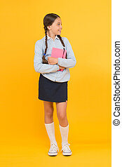 Study in secondary school. Homeschooling and private lesson. Adorable child schoolgirl. Formal education. School education basics. Focused on education. KId girl diligent student likes to study
