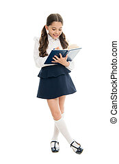 Study in secondary school. Private lesson. Adorable child schoolgirl. Formal education concept. School education basics. Coordinating process. Focused on education. KId girl student likes to study