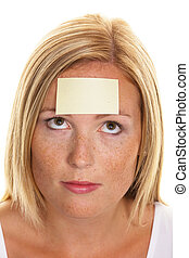 Study on women with Notepad - A young woman with a notepad...