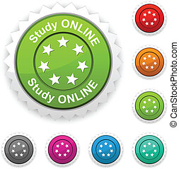 Study online award. -  Study online award button. Vector.