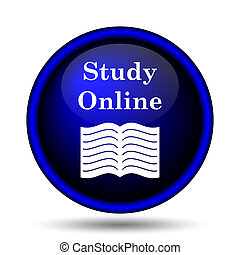 Study online icon. Internet button on white background.
