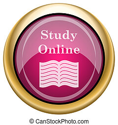 Study online icon - Shiny glossy icon with white design on...