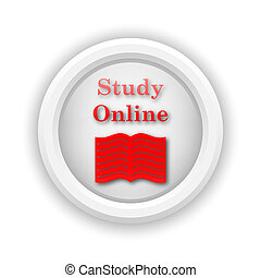 Study online icon - Round plastic icon with red design on...