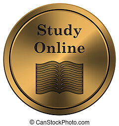 Study online icon - Metallic icon with carved design on ...