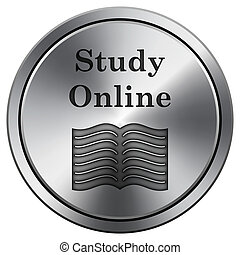 Study online icon - Metallic icon with carved design on...
