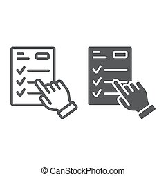 Study program line and glyph icon, e learning and education, finger on list sign vector graphics, a linear pattern on a white background, eps 10.