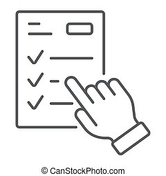 Study program thin line icon, e learning and education, finger on list sign vector graphics, a linear pattern on a white background, eps 10.