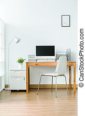 Study room in modern style - Study room with wood flooring ...