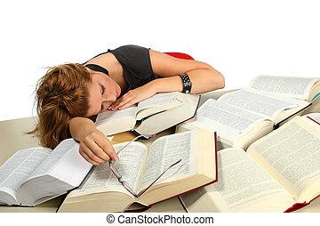 Study - Blonde girl studying between big books