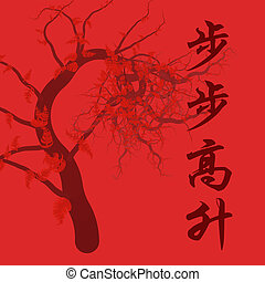 artwork with chinese saying - wishing one success in studies (each step brings you higher)