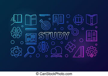 Study vector blue horizontal illustration in thin line style