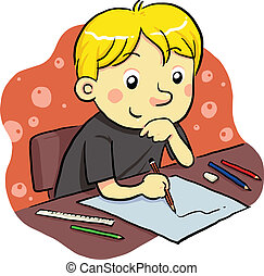 Studying - a boy studying for his future