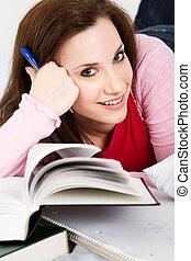 Studying caucasian college student