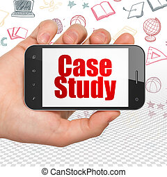 Studying concept: Hand Holding Smartphone with Case Study on display