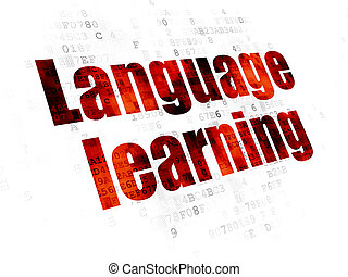 Studying concept: Language Learning on Digital background