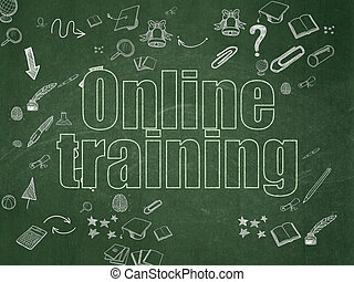 Studying concept: Online Training on School Board background