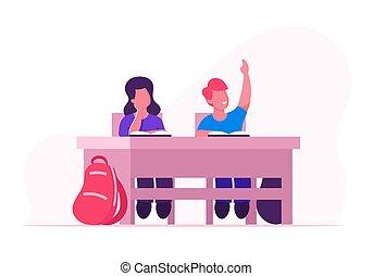 studying., education., lekcja, dziewczyna, class., dzieci, odpowiedź, szczęśliwy, zysk, płaski, posiedzenie, ilustracja, ręka, biurko, rysunek, wychowywanie, klasa, chłopiec, sztubacy, wektor, uczeń, knowledges