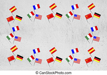 mixed country flags border with copyspace in the centre - ...
