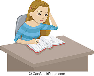 Studying Girl - Illustration of a Girl Reading a Book While...