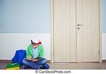 Studying in corridor