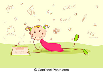 Studying Kid - illustration of kid laying on floor and...