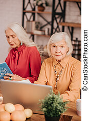 Two grey-haired pleasant ladies sitting at the table