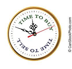 stueur, viser, tid, til køb, og, tid, til sælg