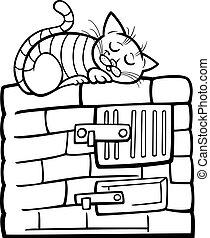 stufa, coloritura, pagina, cartone animato, gatto