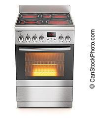 stufa elettrica, isolato, fondo, bianco, cucina, 3d