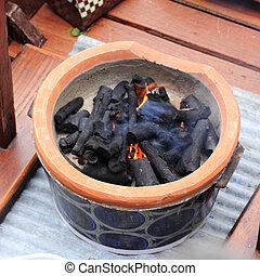 stufa, fuoco, carbonella