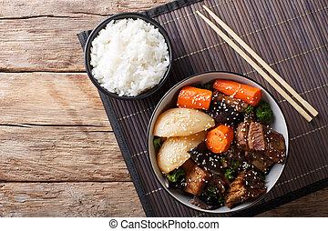 stufato, corto, manzo, costole, verdura, coreano, riso, close-up., orizzontale, guarnire, vista superiore