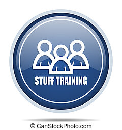 Stuff training blue round web icon. Circle isolated internet button for webdesign and smartphone applications.