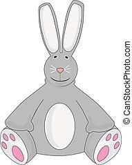 Stuffed Animal Gray Bunny - toy like illustrated gray rabbit