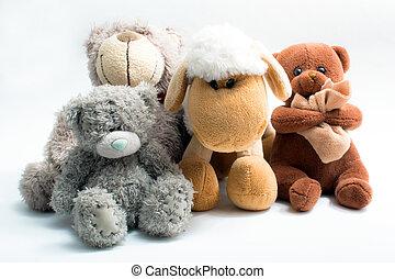 Stuffed animal toys isolated on white