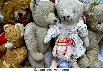 Teddy bears and stuffed animals in a flea market