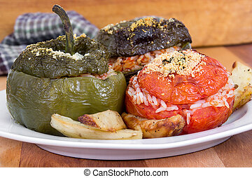 Stuffed bell pepper and tomato