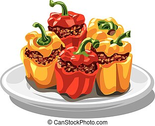 stuffed bell peppers - illustration of stuffed minced bell ...
