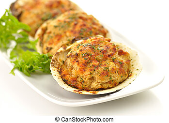 stuffed clams in a plate