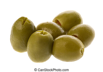 Isolated macro image of stuffed manzanilla olives.