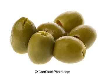 Stuffed Manzanilla Olives - Isolated macro image of stuffed...