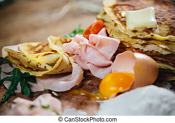 pancakes with ham cheese and vegetables