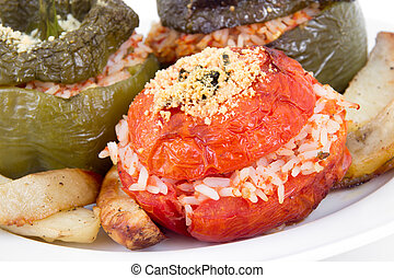 Stuffed pepper and tomato with rice